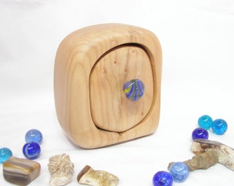Oregon Coast Maple Wood Box, violet blue lampwork glass, wedding gift, natural jewelry box, earring box, wood anniversary, wooden drawer