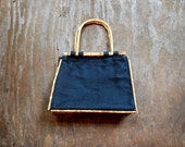 Vintage linen handbag with bamboo handles / Black linen and bamboo purse