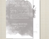custom perforated wedding invitations with tear off rsvp postcard - watercolor.