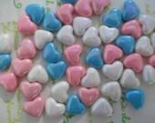 Small Puffy Heart BEADS 20pcs AB Mix White Blue Pink
