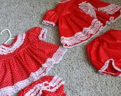 Set of 2 Vintage Baby Dresses with Bloomers 3-6 Months