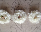 New-Shabby IVORY with ROSETTE and PEARL Trim on Net-2 1/2 inch- 6 flowers