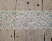 Wide Lace IVORY with AQUA floral no. 68- 2 inch -2 yards for 3.19
