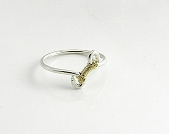 Made-To-Order Knot an Ordinary Kind of Love Single Column Tie Shibari Themed Sterling Silver and Gold Filled Knot Ring
