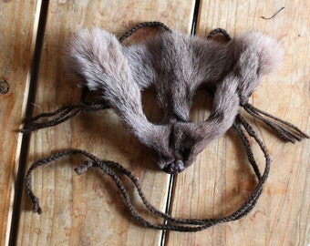 Fox mask - real eco-friendly dyed brown Arctic fox fur mask headdress with braided yarn cords for ritual, dance, costume and more