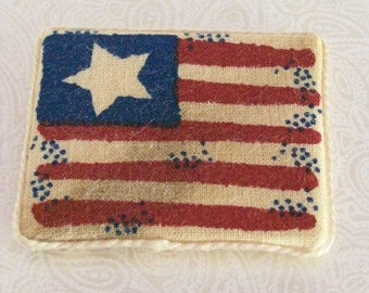 American Flag Plaque Wall Hanging USA 1:12 Dollhouse Miniature Artisan
