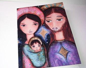 Nativity Stars  - Greeting Card 5 x 7 inches - Folk Art By FLOR LARIOS