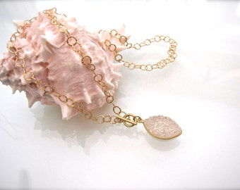 Druzy Crystal Stone Pendant on Gold Toggle Necklace