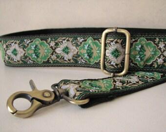 Custom BAG Strap,  Green Floral Purse Strap