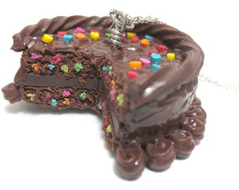 Chocolate Birthday Cake Necklace Full Cake, Miniature Food Jewelry, Polymer Clay Food Jewelry