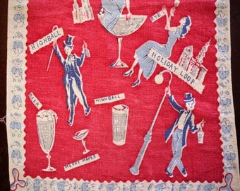 VinTAgE ToWEl 1930's linen Gatsby Cocktail Theme