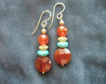 Natural Faceted Carnelian, Faceted Green Turquoise, Gold Filled & Vermeil beaded Dangle Earrings with 14/20 Gold Filled Earwires