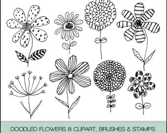 Doodled Flowers Digital Clipart, Photoshop Brushes & Stamps. Instant Download. Personal and Limited Commercial Use.
