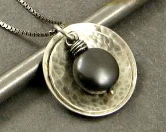 Pearl Necklace, Sterling Silver Disc Pendant, Black Pearl Necklace Gifts for Her