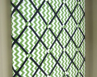 "Green Chevron 20""x24"" Memory Board, Bow Holder, Bow Board, Ribbon Board, Vision Board, Memo Board, Photo Display, Business Card Holder"