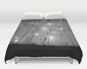 """Duvet Cover Made to Order """"Only the stars and me"""" Decorative bedding, unique design,stars,night,black,white,nature,comforter,bedroom,blanket"""