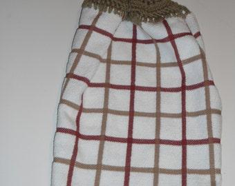 Multi Plaid Brick Crochet Top Kitchen - Tan Top