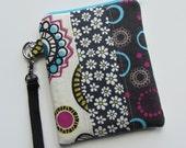 GADGET BAG Grey, Pink and Aqua Flowers and Circles, Wristlet, Zipper Bag, Camera Bag, Phone Bag