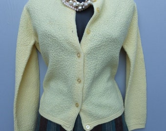 Vintage 1970s Knit Cardigan Yellow Knit Sweater by Koret of California / Bust up to 38