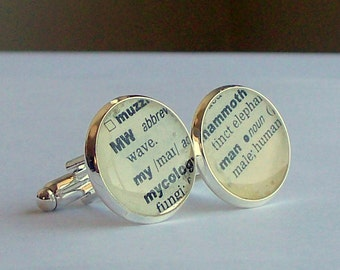 Dictionary Word Cuff links on Silver Plated Cuff Links - My Man
