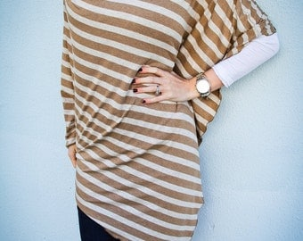 Beige and Oatmeal Striped Nursing Cover/ Nursing Poncho/ Full Coverage/ Nursing Shawl that can be folded into an infinity scarf