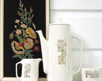 Mid century modern gold on cream coffeepot set