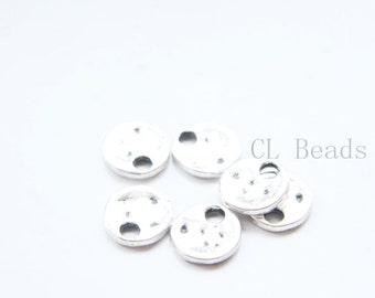 30pcs Oxidized Silver Tone Base Metal Textured Tags-Round 12mm (11689Y-E-556)