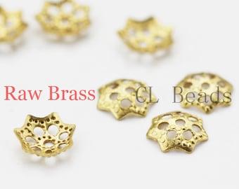 300pcs Raw Brass Bead Caps - 6mm (1862C-U-28)