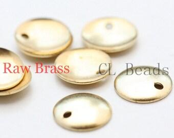 120pcs Raw Brass Curved Tags - Round - Disc 8mm (500C-U-41)