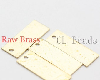 30pcs Raw Brass Rectangle Charm - 7x18.5mm (1840C-U-60)