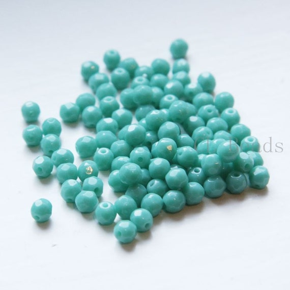 100pcs Czech Fire Polish Glass Faceted Round-Light Turquoise 4mm (FP4000)