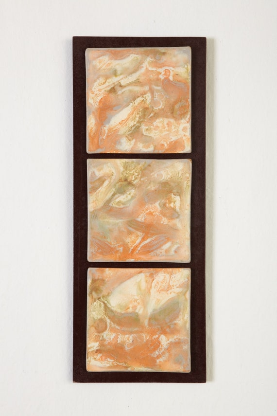 SALE CLEARANCE Tile Wall Hanging in Peachy Orange and White Triptych