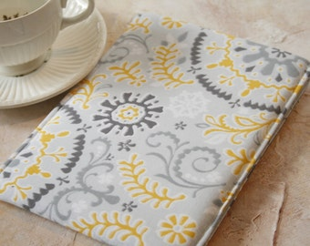Kindle Paperwhite Sleeve, Kindle Voyager case, Kindle Oasis Case, Nook Sleeve, Grey and yellow Nook Case in Lace - Gadget Cases and Covers