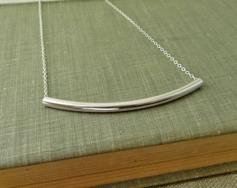 Sterling Silver Horizontal Bar Necklace - Long Curved Tube - Simple Modern Minimal Jewelry