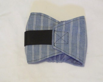"""Blue Stripe Male Dog Belly Band,  15""""-18""""   Dog Diapers    Doggy Belly Wrap   Puppy Bellyband   Doggy Band"""