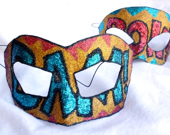 BAM! POW! - Superhero Masquerade Mask in Gold, Turquoise, and Red