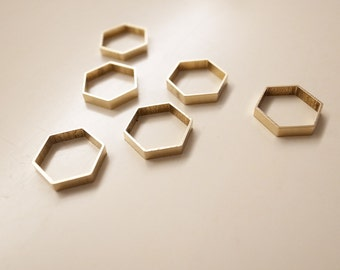 12 pieces of new raw brass tube outline charm in hexagon shape geometric art deco 12 x 13 x 2.5 mm