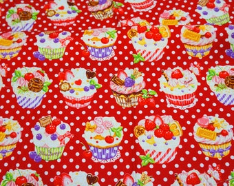 Cupcake print Japanese fabric Half meter 50 cm by 106   cm or 19.6 by 42 inches  nc42