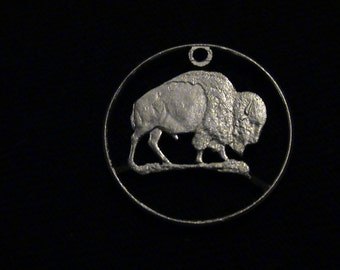 United States of Corporate America - cut coin pendant - w/ American Buffalo