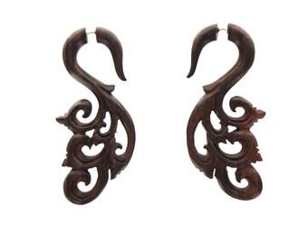 Fake gauge earrings ,Wood, Organic, Tribal Expander ,Split ,tribal style,hand made,fake piercings
