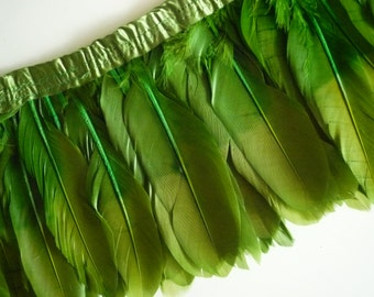 OMBRE GOOSE  FEATHERS ,  Two Tone Olive Green / 966