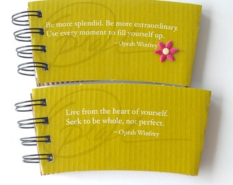 STARBUCKS SPIRAL NOTEPAD made out of Coffee Sleeves-set of 2 Tea Sleeves