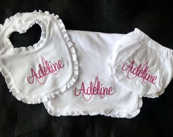 Monogrammed Ruffle Set - Bib, Burp Cloth and Bloomies - Design Your Own