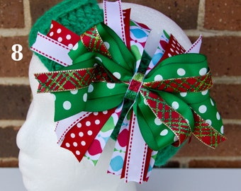 You choose: Crocheted Headband with Removable Christmas Hair Bow