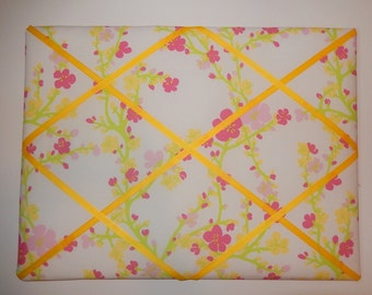New memo board made with Lilly Pulitzer for Garnet Hill Cherry Blossom fabric