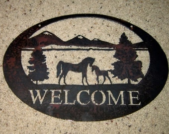 Horses Welcome-Metal Art--steel art-home decor-wall art