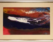 ABSTRACT PAINTING Listed artist Ted LOWNIK original acrylic blue and red  brown white colorful  framed 21 x 14 Signed