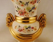 Vintage VASE CERAMIC ABINGDON Flowers Gilt  and White Ceramic great condition 10 1/2 Tall X 7 in diameter