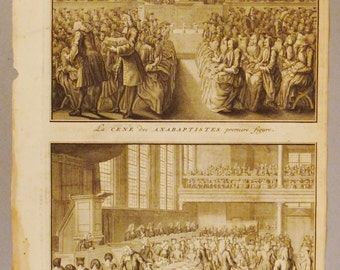 ANTIQUE REFORMES Sacraments Original steel Engraving 1700s 14 1/4 x 9 3/4 in Ready to frame