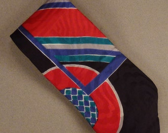 Designer Neck TIE SILK Executive Silks  Hand made Italy red green blue green  black geometric  Dead Stock 60x3 3/4 in